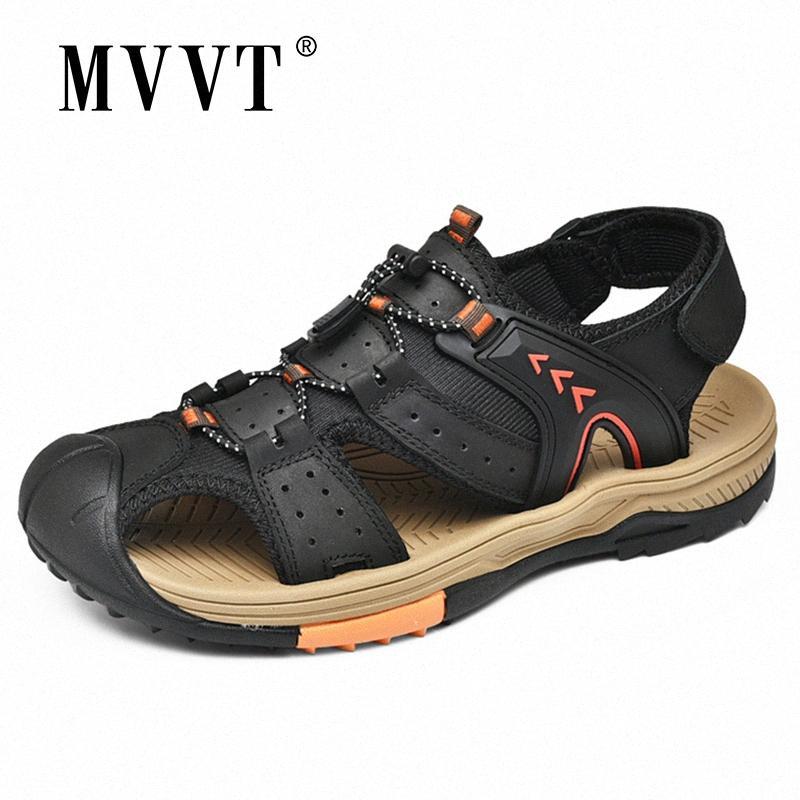 Größe 45 echtes Leder Outdoor-Sandalen Männer Hand Made Sommer-Strand-Sandalen Casual cr8W #