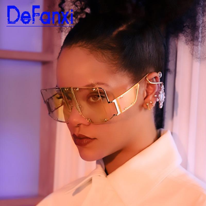 Frauen Sonnenbrille 2020 oculos Männer Sonnenbrille Designer Übergroße Blocktöne UV400 Square Große Frauen Marke Maske Brillen Jphvr