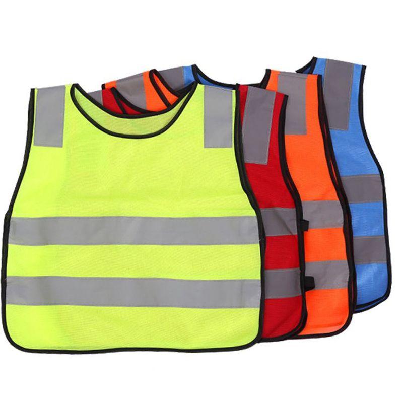 Figli studenti Kid giubbotto riflettente ad alta visibilità Traffic Safety Vest bambini riflettente Gilet Giubbotti 4 COLORI KKA3004-1