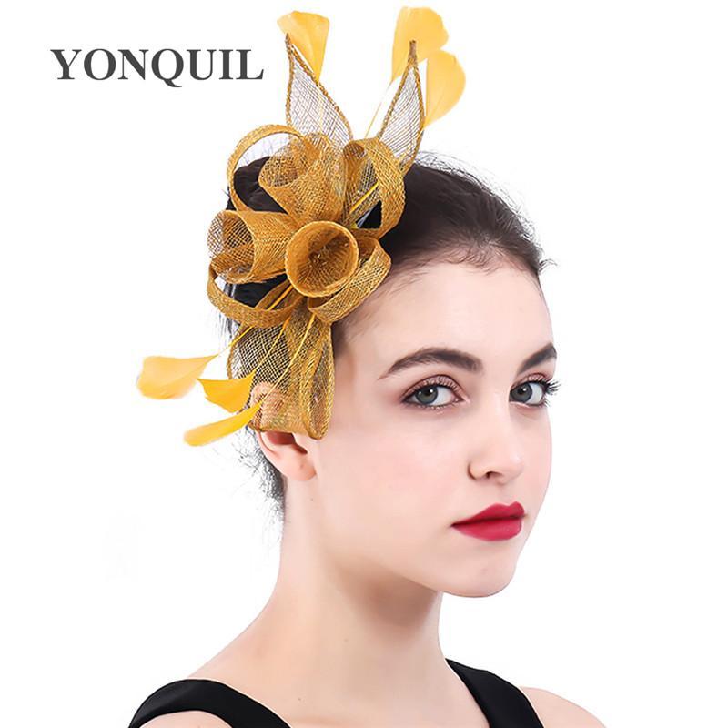 Calidad superior de Sinamay Moda fascinators cabello pinzas para la boda del sombrero de flores damas de accesorios de té partido de la pluma bandas para la cabeza SYF402 sombreros iglesia