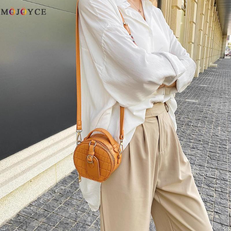 PU Sac à bandoulière en cuir Cercle Femmes Motif Pierre Petit sac à main Messenger ronde Femme Sacs à main classique épaule élégante