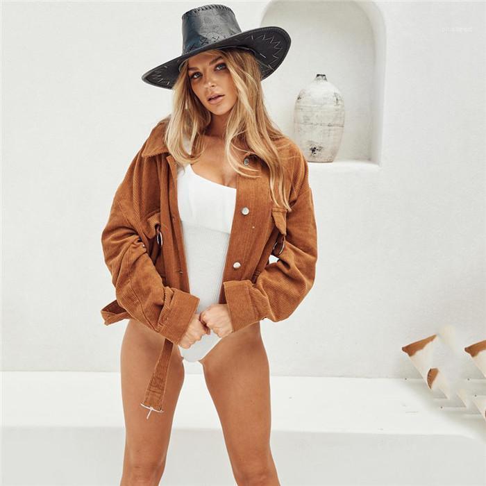 Пальто Женщина Вельвет отворот шея Outwears женщины Охладить Street Style Jacket Конструктор кнопка железного кольцо украшение пояса Замыкание