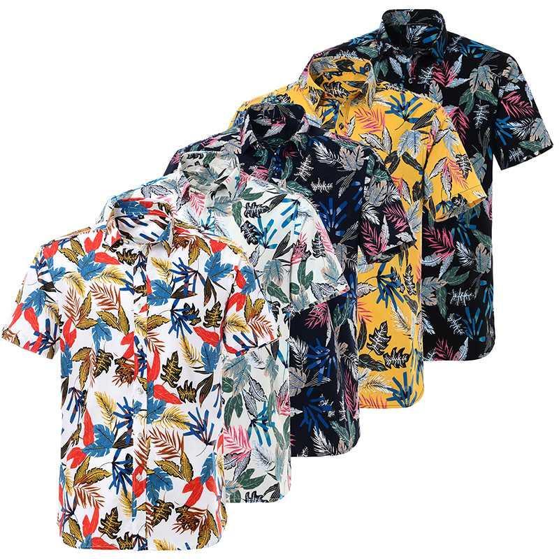 Estate cotone da uomo Camicia hawaiana puro allentato stampato manica corta Big noi formato Camicie Hawaii Uomini Fiore Beach floreali