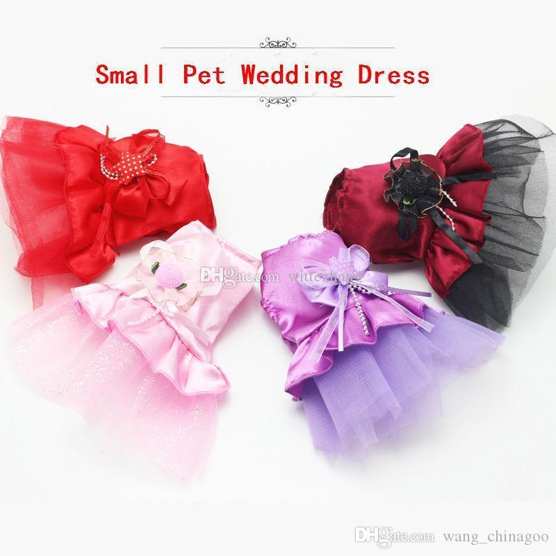 Vestido lindo del perro pequeño para mascotas Pet boda vestido de encaje vestido de la princesa del gato ropa Flor Suministros 5PCS / LOT