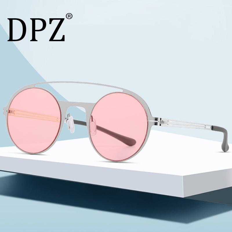 Nova moda rodada quadro senhoras piloto óculos personalidade selvagem super-elásticas homens de aço inoxidável óculos de sol