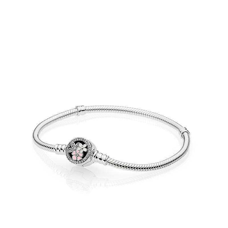 Autêntica prata esterlina 925 Poetic Flores Esmaltes Limpar Cz pulseira único encantos Jóias estilo europeu Pandora Miçangas Pulseiras