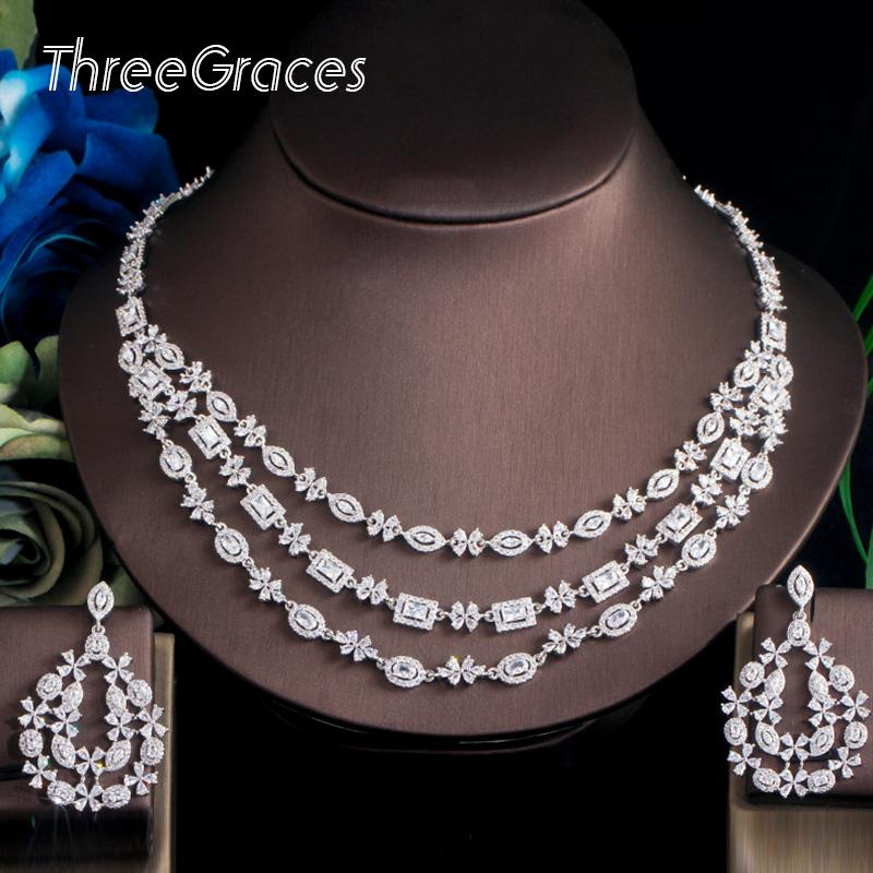 ThreeGraces alta qualidade brilhante Branco CZ cristal Flor de várias camadas Big Nacklace casamento brinco nupcial Conjuntos de Jóias TZ542
