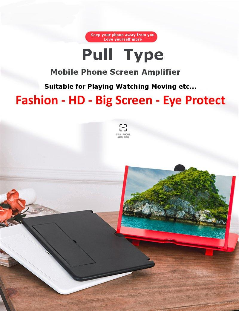 12 inch HD Cell Mobile Phone Screen Magnifier for iphone Video Amplifier Foldable 3D Zoom Enlarged Screen Expander Non-Slip Bracket Stand