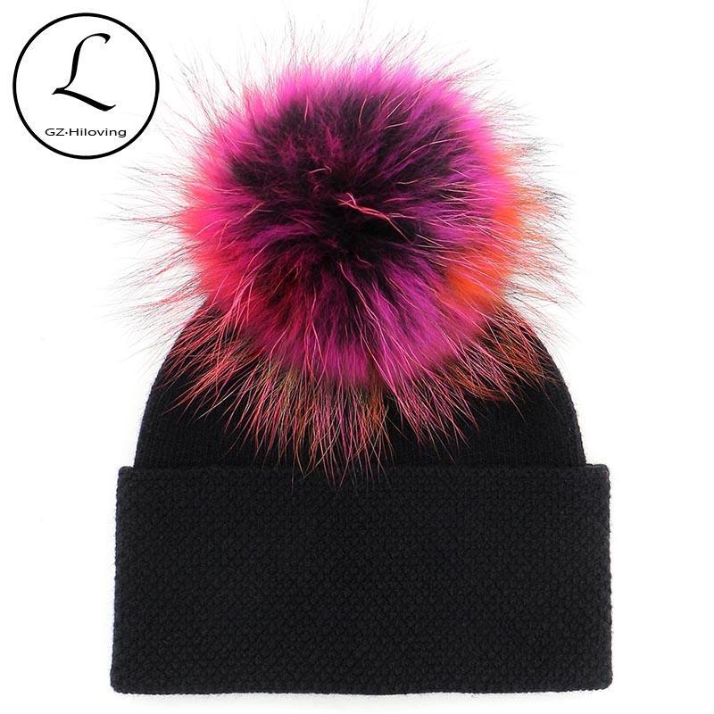 Gzhilovingl женщины енота зима вязаные настоящие шансы толстые твердые настоящие шерстяные меховые меховые POM POM шляпа шляпа женщины для 100% мех повседневная новая космос