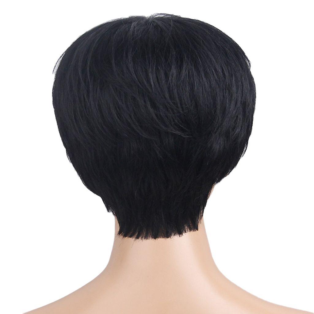 Moda Pixie seda Natural curto em camadas Cabelo Humano Cosplay WigsFlat bang
