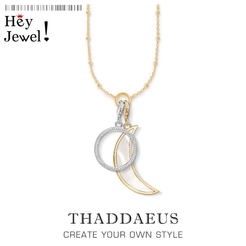 Ketten Charme Halskette Mondkreis, 2021 Frühling Modeschmuck Link Kette 925 Sterling Silber Klassische Geschenk für Frauen Mädchen