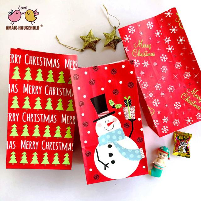 50pcs/lot Amais Food Level Christams Favor Decortion Kraft Paper Gift Candy Packaging Bags