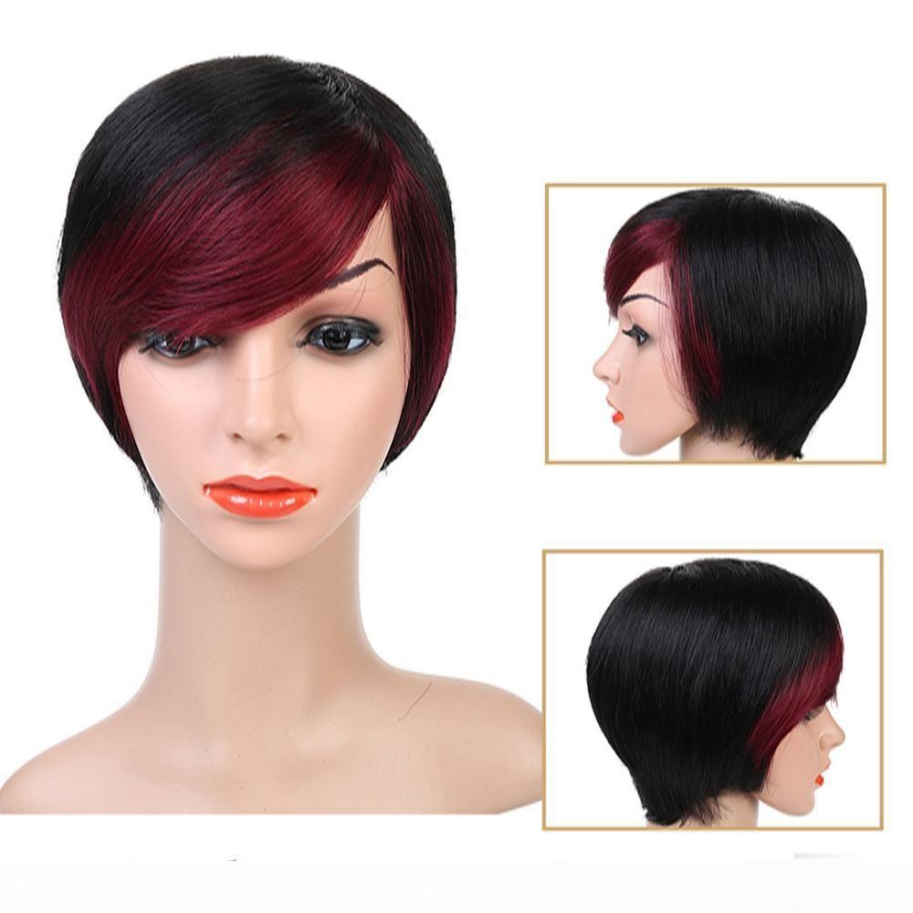 de cabelo curto reta Humano Perucas Mulheres Omber Estilo Inteiro Cabeça Peruca Non-Remy brasileira perucas de cabelo humano preto Cor