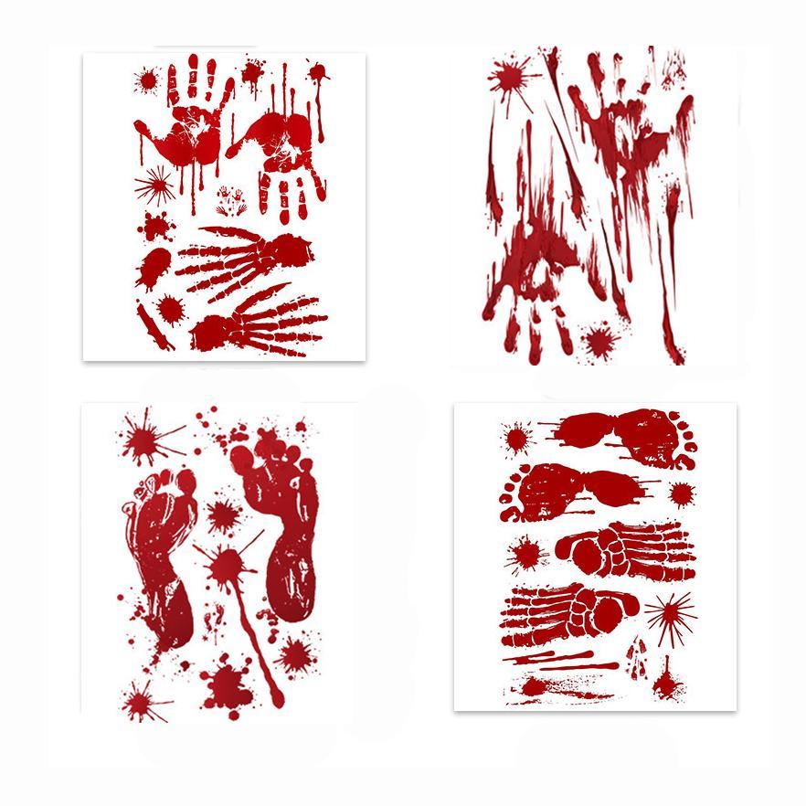 4 Стили Bloody Handprint Footprint Horror комната Зомби партии Хэллоуин украшения окна Таблички покрытие стены стикеры декор JK1909KD