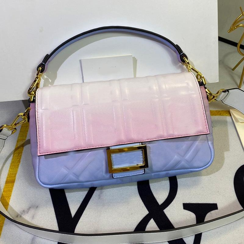 Gradient Color Crossbody Bag Wallet Sheepskin Leather Handbag Purse Detachable Handle Shoulder Strap Bags Embossed F Letter Qulited Flap Bag