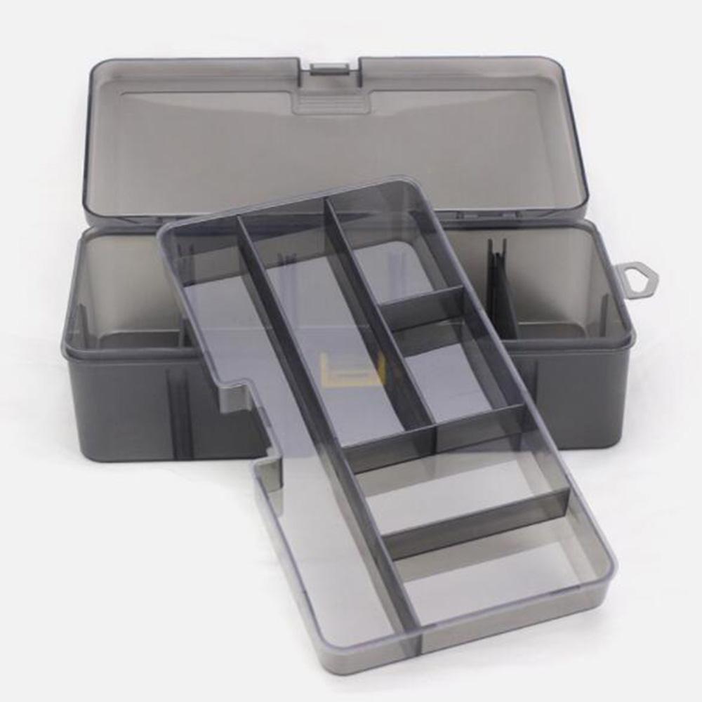 Double-Layer-Fischen-Gerät-Kasten Multifunktionsfischköder Köder Haken Halter Löffel Aufbewahrungsbox Angel Box Werkzeuge