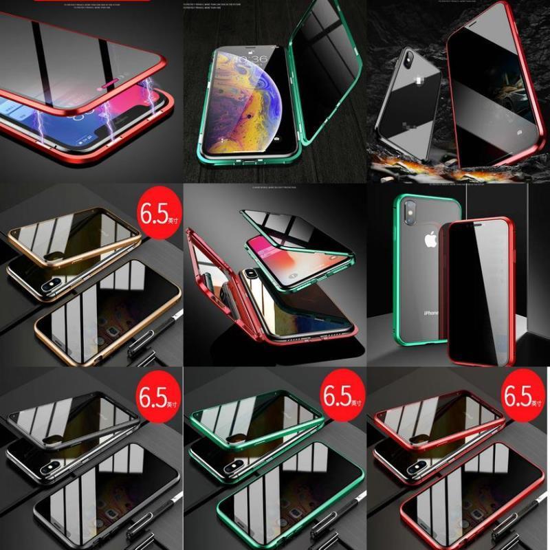 Xr Metal Case X Xs Anti-pio de vidro de 10 Capas para Privacidade Voltar Telefone Magnetic tela do iPhone Capa temperado Max 66s78plus sqcEZ bdefashion