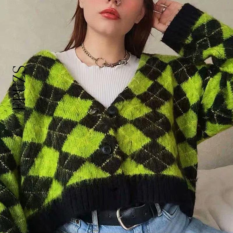 Vintage argyle knitted cardigans women sweaters kawaii mohair sweater winter korean sweater clothes 2020 new T200910
