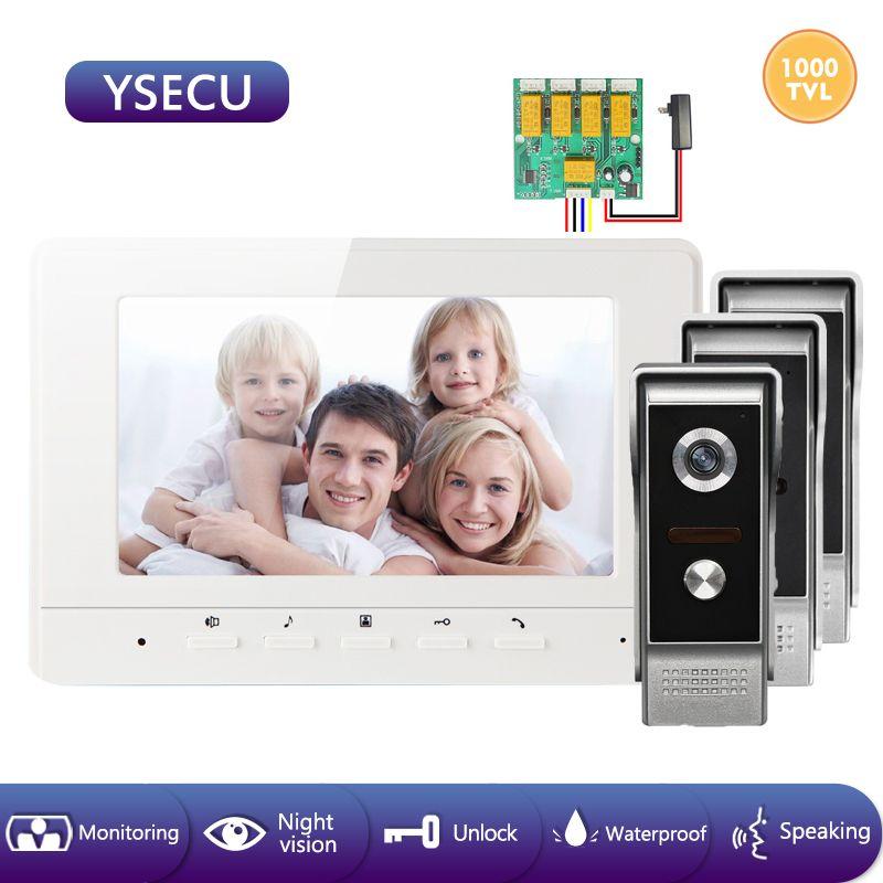 YSECU 7 pulgadas 1000TVL LCD con conexión de cable de teléfono video de la puerta del timbre del intercomunicador visual con 3 cámaras para la seguridad casera