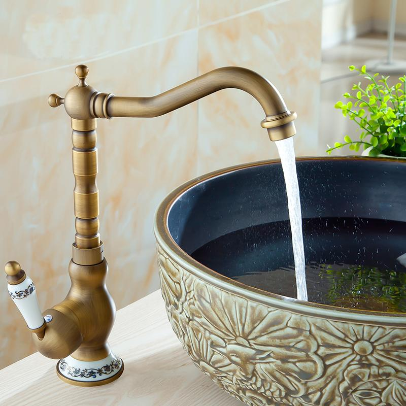 Bathroom high and low basin faucet vintage,Brass Antique basin faucet mixer tap,Copper brushed kitchen basin faucet hot and cold