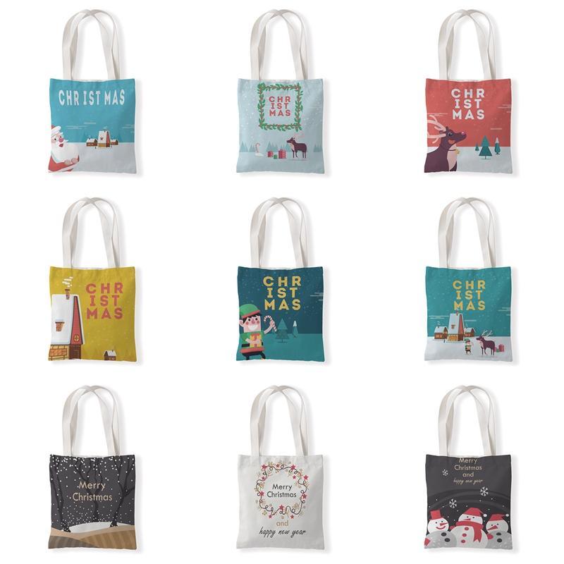 عارضة جميلة طوي عيد الميلاد حقيبة رسائل مطبوعة قماش طالب التسوق حقيبة هدية وجبات خفيفة للأطفال قابلة لإعادة الاستخدام حقائب الكتف VT1589