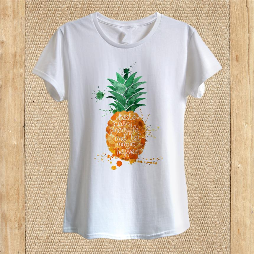 Ananas Raffreddare T-shirt Art Design Summer Vacation Wear Acquerello Unisex Donna all'aperto Tee Shirt