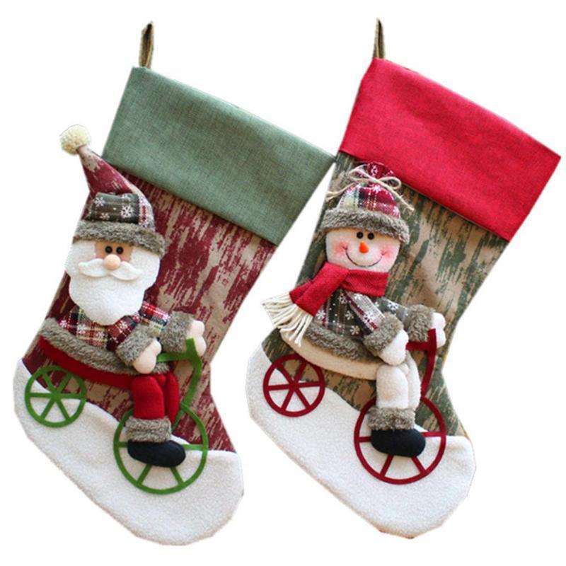 Árbol de Navidad Santa de almacenamiento Medias regalo del caramelo bolsa de almacenamiento para la Navidad Chimenea Decoración calcetines divertidos caramelo regalo para el cabrito