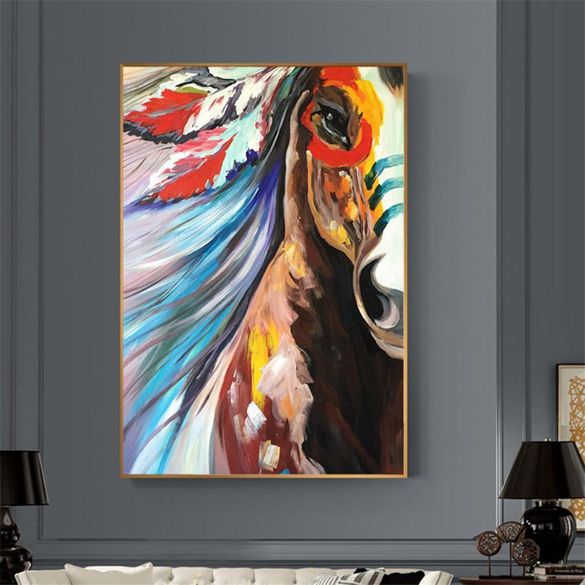 The Warhorse, handpainted abstract horse canvas art oil painting on canvas adornment horse picture for living room home decoration