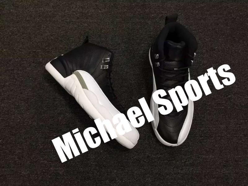 12 Ayakkabı En Basketbol Sürüm 12s Siyah Beyaz Fabrika Playoff Gerçek Karbon Elyaf Erkek Eğitmenler Klasik Sneakers Kutusu ile Boyut US12