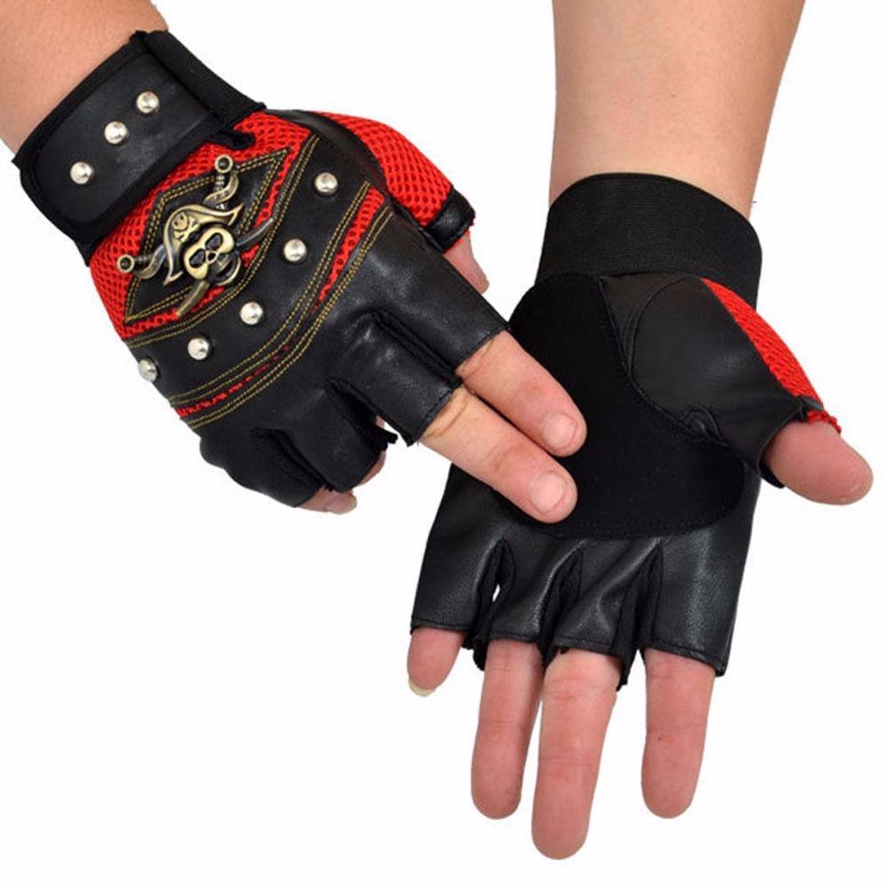 PU Leather Skull Punk Driving Motorcycle Biker Fingerless Gloves For Men Women Black Gloves Cool PU Leather Fingerless Gloves