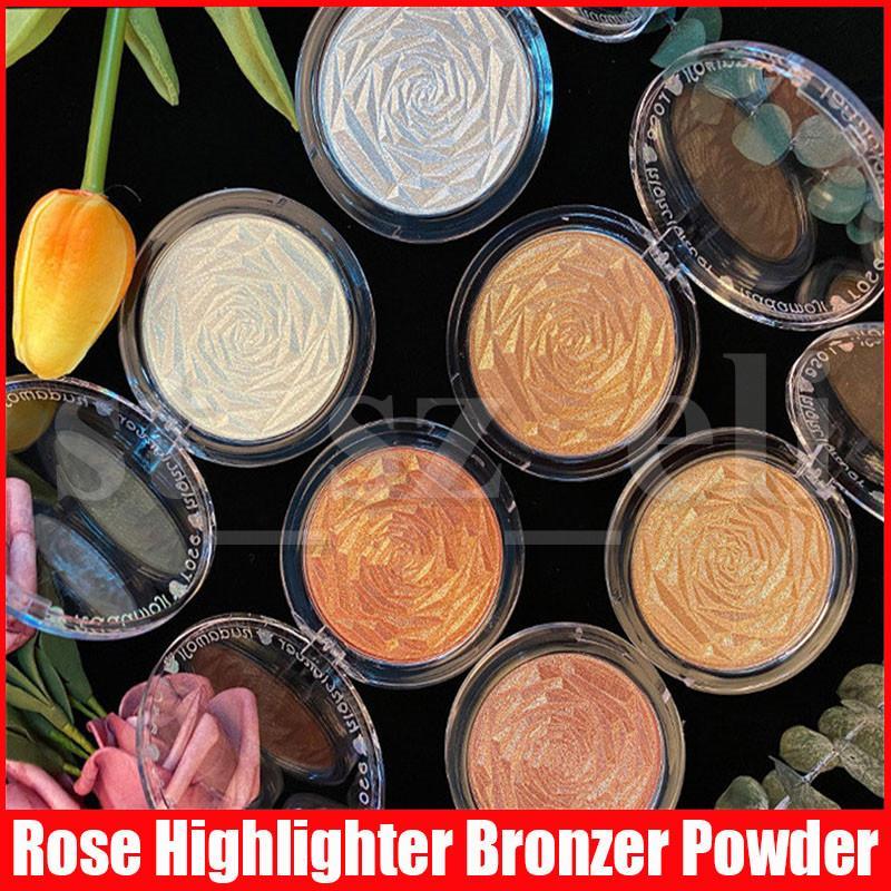 Maquillaje de la cara Rose al horno Shimmer polvo de la prensa Bronceadores Rotuladores 6 colores aclarador de la piel de la cara Contorno de resaltado Polvo