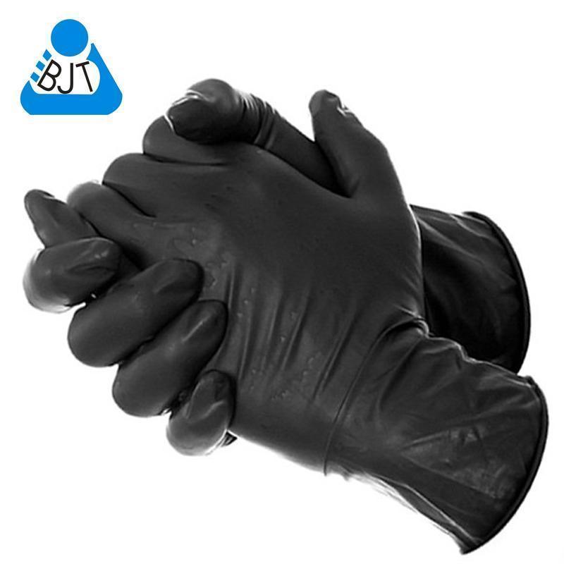 Adet Gerçek Ücretsiz Kargo 50 Bir seferlik Siyah Tedarik Tek kullanımlık nitril Dövme Eldiven Su geçirmez