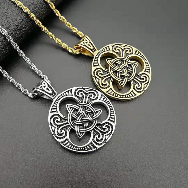Erkekler Viking Takı Drop Shipping için Punk Retro Altın Gümüş Renk Paslanmaz Çelik Celtics Konsantrik Knot Pandantifler Kolye