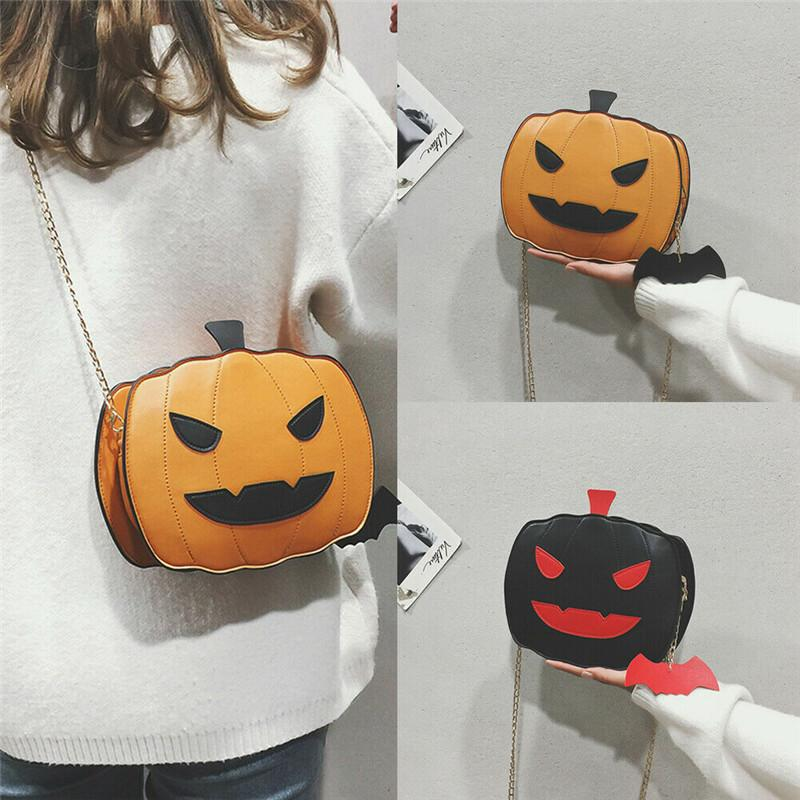Women Funny Lovely Pumpkin Handbag Halloween Candy Bag Girl's Shoulder Messenger Bag