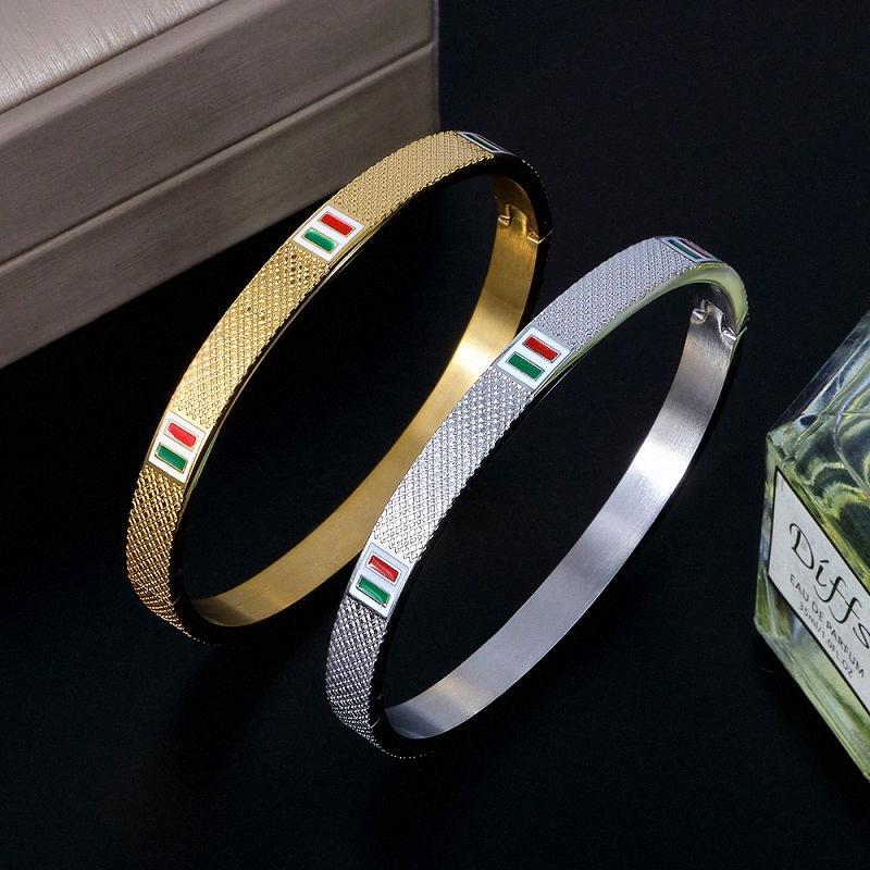 JINHUI LuxuxEdelstahl Armreif Trendy Simple Red Green Square Emaille CZ-Armbänder für Frauen Armbänder Schmuck Geschenke 7NAu #