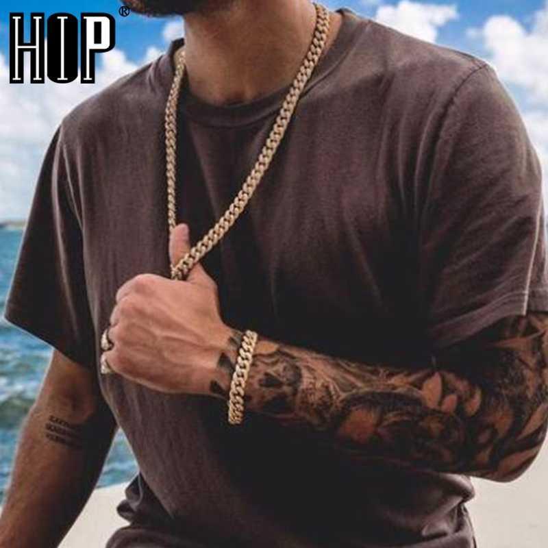 Correntes Hip Hop 13mm Miami Cubana Link Cadeia Colar Colar Pulseira Fora Ouro Cristal Cristal Strass Bling para Homens Jóias