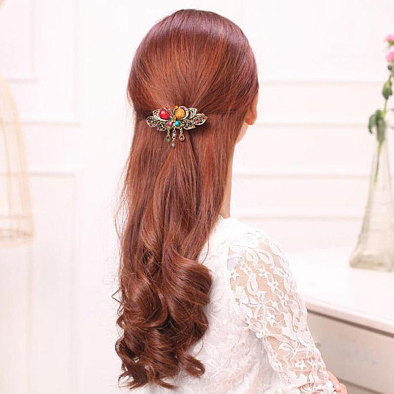 Hair Clips for Women Girls Crystal Peacock Big Hairpins Hair Accessories Barrette Donut Style