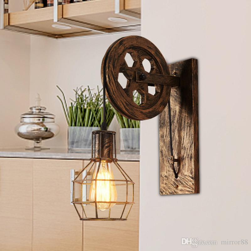 Creative Loft Adjustable Lifting Pulley Wall Lamp Porch Restaurant Aisle Corridor Pub Cafe Bar Light Sconce