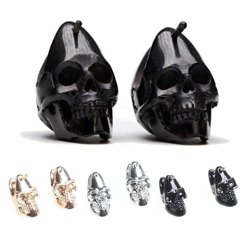 Punk Trendy Cool Skull orecchini per le donne degli uomini di Hip Hop della roccia scheletro di orecchio dei monili regali del partito Dropshipping
