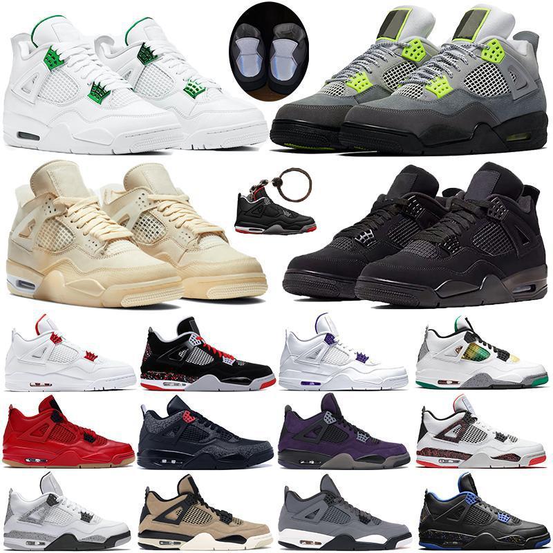 Hommes de race oro cool gris Silt Red Splatter punch chaud 4 4s chaussures de basket-ball hommes verts poussent meilleure qualité baskets de sport