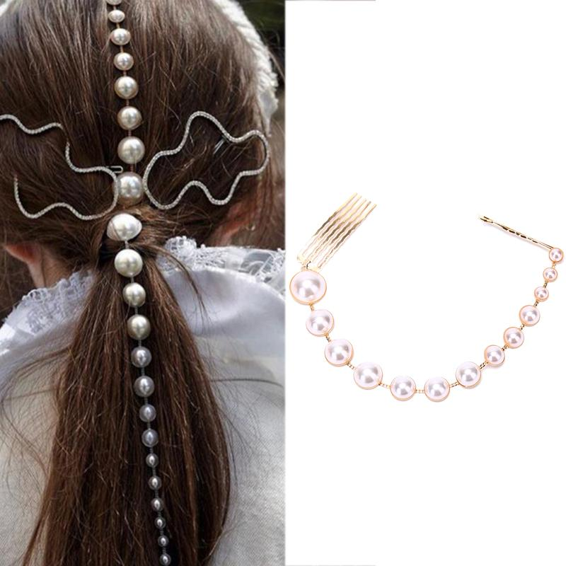 Fashion Pearls Tassel Hair Clips Long Gold Chain Hair Comb Hairpins Party Accessories Jewelry for Women