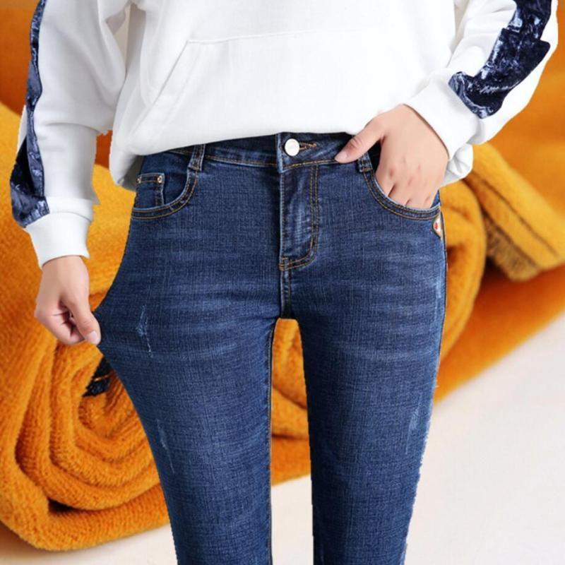 Inverno Jeans femminile a vita alta Denim Skinny Jeans caldo di spessore per le donne più velluto formato di stirata dei pantaloni Femme