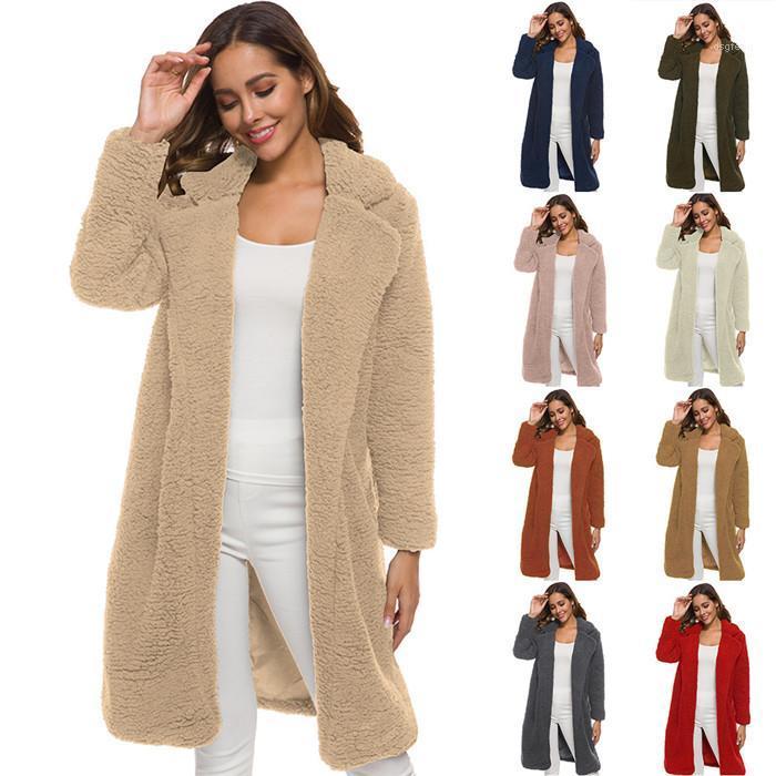 Escudo de manga larga Cardigan Famale caliente sólido de lana suelta capa de las mujeres de la solapa de la piel del cordero cuello