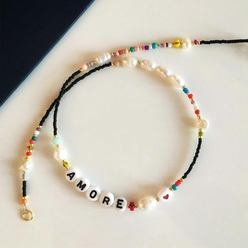 women exquisite charm name necklace new design beaded choker birthday gift for friends handmade bohemian pearl Accessories