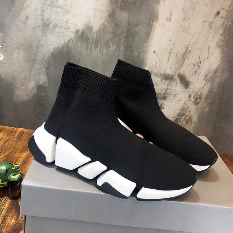 الرجال والنساء الاحذية سوك SPEED حذاء 2.0 الرياضة محبوك تمتد احذية سرعة مدرب سوك سباق أحذية الراحة أسود أبيض أوريو مع صندوق
