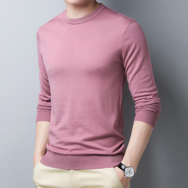 Male Silk Wool Sweater High Quality O-Neck Sweater Solid Color Man Silk Jumpers Long Sleeve Slim 15 Colors For Choice