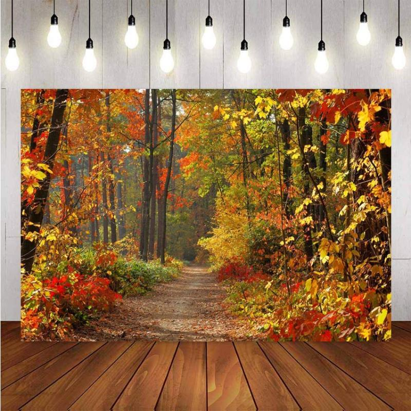 NeoBack Photography Backgrounds Fall Autumn Forest Yellow Vinyl Photo Background Studio Photographic Backdrops