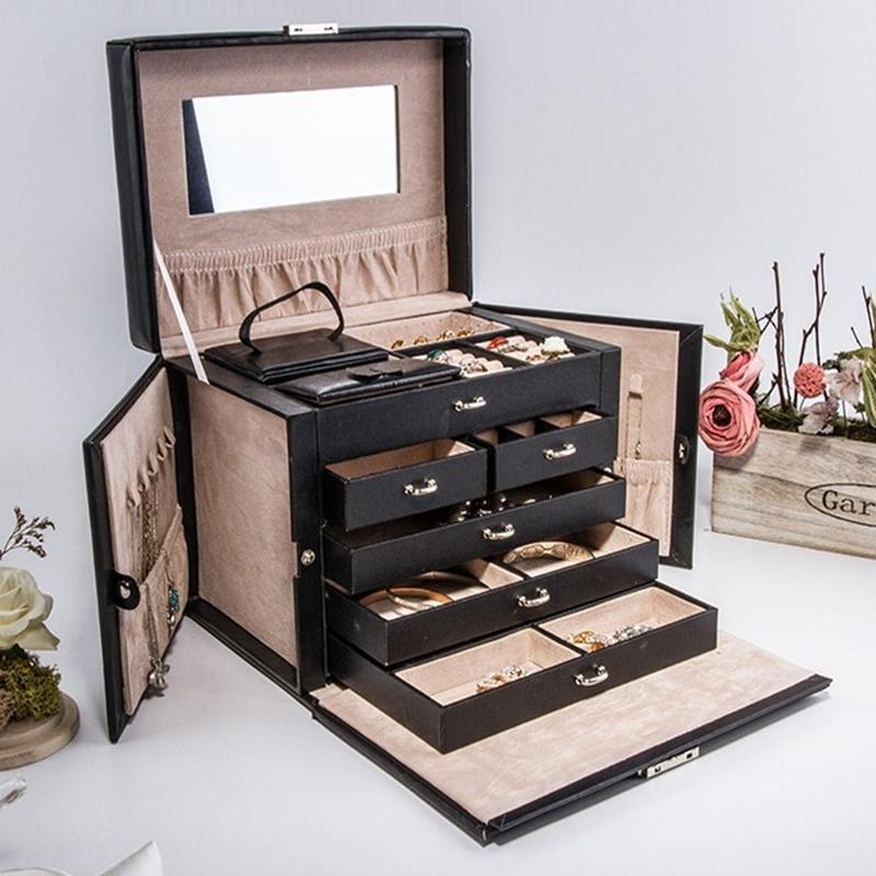 الشحن مجانا الفاخرة كبيرة 5 طبقات مربع والمجوهرات والجلود الأقراط مربع عرض المجوهرات هدايا الزفاف هدية مربع العرض المقصورة T200917