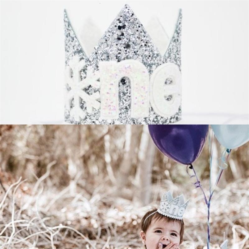 Un anno vecchio cappello Glitter Snowflake bambini di prima parte prima torta di compleanno Corona Inverno ONEderand Outfit