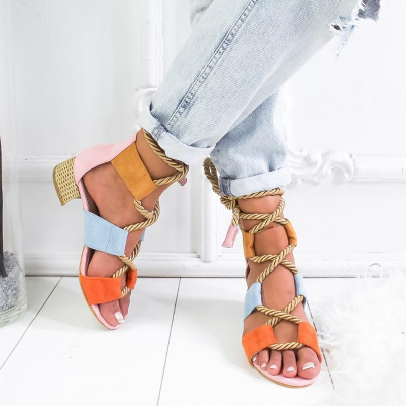 Laamei 2020 New Espadrilles Women Sandals Heel Pointed Fish Mouth Fashion Sandals Hemp Rope Lace Up Platform Sandal Y200107e3f5#